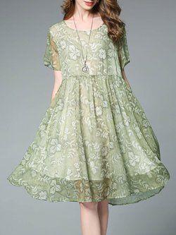Green Chiffon Short Sleeve A-line Floral-print Midi Dress