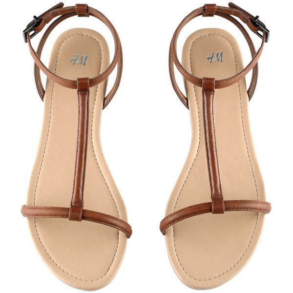 H&M Sandals ($11) ❤ liked on Polyvore featuring shoes, sandals, flats, h&m, brown, faux leather sandals, strappy sandals, flat pumps, flat shoes and vegan shoes