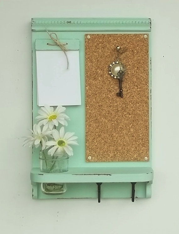 Corkboard Message Board Note Pad Key Hooks Organizer Mason Jar Shelf Made To Order Southerland Charm Pinterest Messa