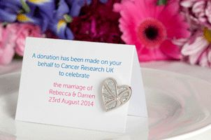 Wedding favours - Give in Celebration - Cancer Research UK