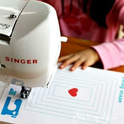 12 Easy Sewing Projects for Kids including printable - like following the maze and dot to dot. While intended for kids these also work well for adults learning to sew too ;)