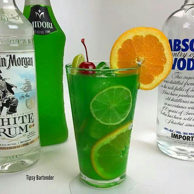 Sex in the Jungle 1 1/2 oz Vodka 1 oz Rum 1 oz Midori 1 oz Blue Caraco 1 oz Lime Juice 3 oz Pineapple Juice 3 oz Orange juice