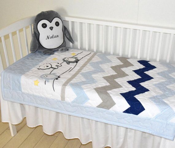 Chevron Crib Bedding Penguin Baby Quilt Gray by Customquiltsbyeva