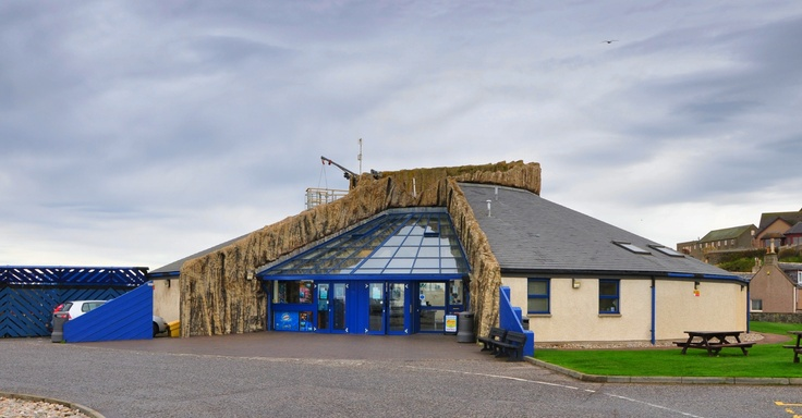 Photo of the Marine Aquarium in Macduff in Aberdeenshire. The structure on the top is where they let divers in to feed the fish in front of an audience. I used this photo in one of my recent competitions on my blog.