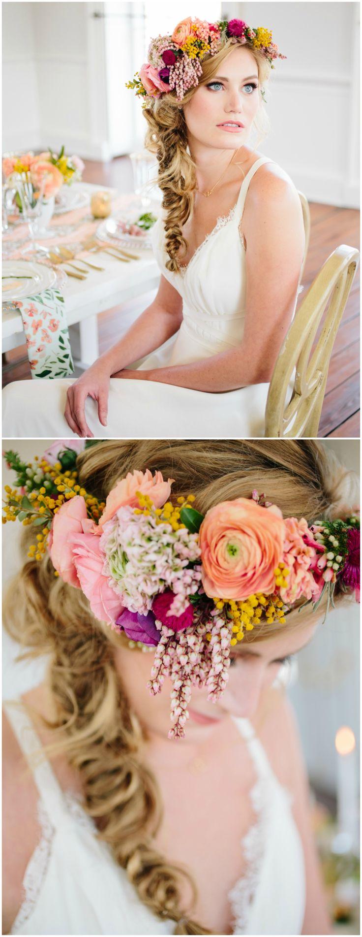 Bridal flower crown, colorful flowers, fishtail braid, wedding hair ideas // Riverland Studios