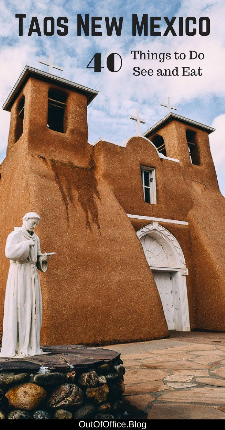40 things to do, see and eat in Taos New Mexico including desert landscapes, Sangre de Cristo Mountains, Rio Grande, a multilevel Pueblo, adobe architecture against the blue sky, turquoise doors, ristras drying in the sun and gorgeous sunsets.#Taos #NewMexico #Travel #UnitedStates