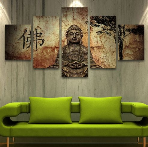 Get ThisModern Buddha 5 Pcs Wall Art Painted Canvas For 78.95 Only!! Material:CanvasType: No Frame Size: 12x16inch x2pcs+12x24inch x2pcs+12x32 x1pcs(30cm x 40