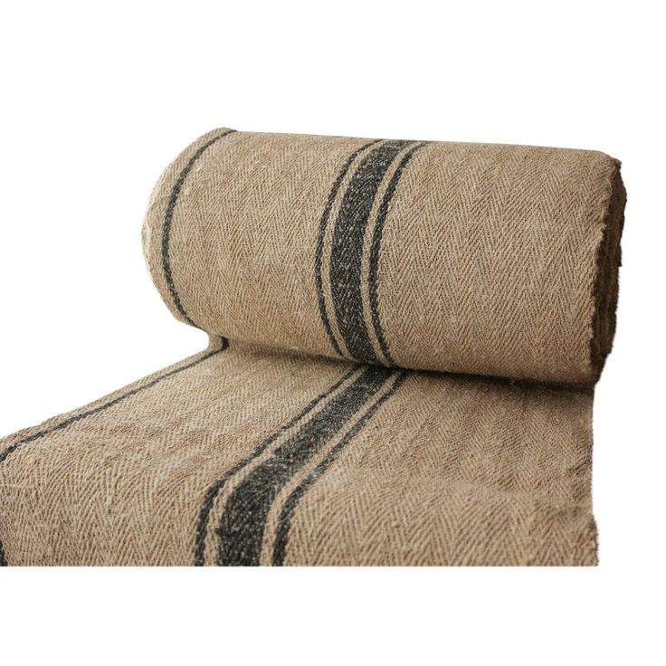 Grain Sack Fabric Vintage Table / Stair Runner Yardage Blue Stripe Linen 4yd