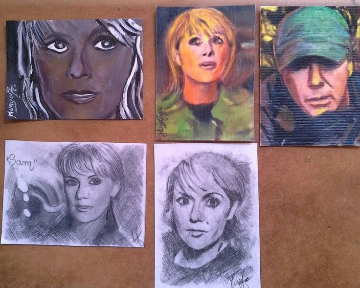 aceo art cards Samantha carter stargate. Dipinti e disegnati a matita .5 pezzi