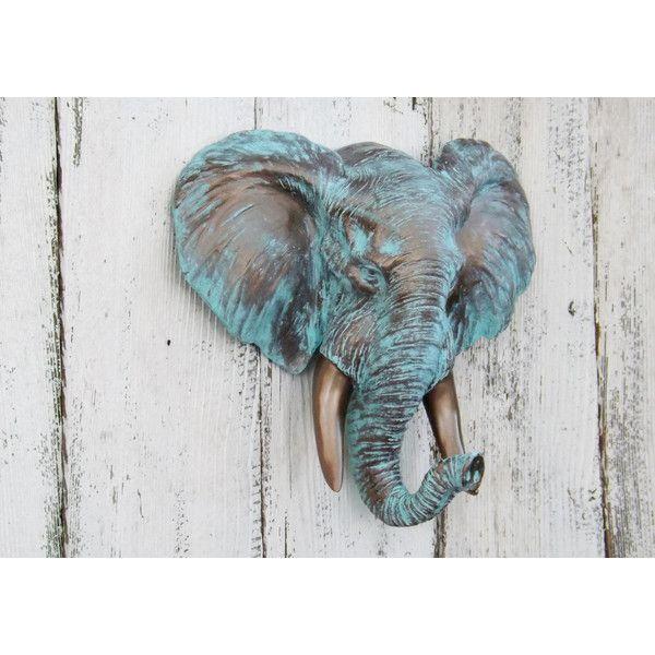 On Elephant Head Elephant Decor Elephant Wall Decor Elephant Figurine... ($77) ❤ liked on Polyvore featuring home, home decor, grey, home & living, home décor, wall décor, bronze sculpture, elephant home accessories, bronze home decor and elephant sculpture