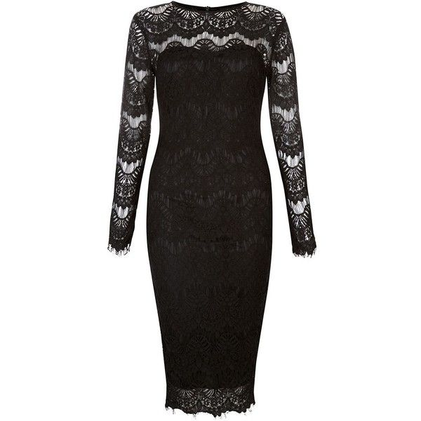 AX Paris Black Lace Long Sleeve Midi Dress ($53) ❤ liked on Polyvore featuring dresses, long sleeve black dress, lace cocktail dress, long sleeve lace dress, long sleeve midi dress and slimming cocktail dresses