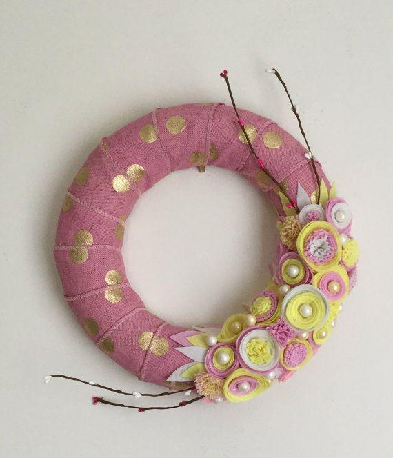 Corona di Natale feltro fiori perle pois rosa in oro di butterbuys