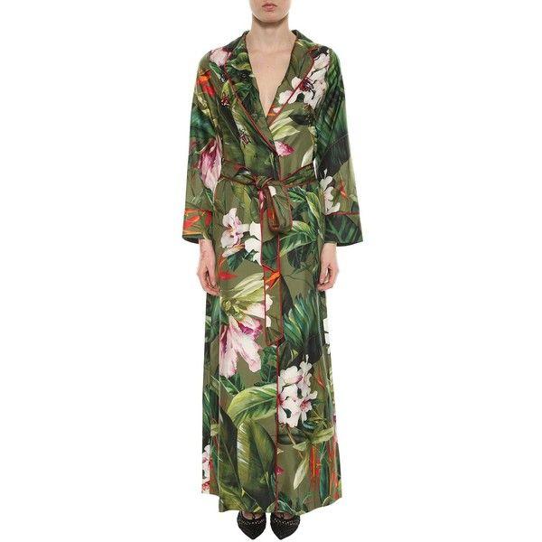 Long Pajama Dress Jungle Print (4,625 CNY) ❤ liked on Polyvore featuring multicolor, womenclothingdresses, silk pjs, long sleeve pajamas, silk sleepwear, long sleeve pjs and long pajamas