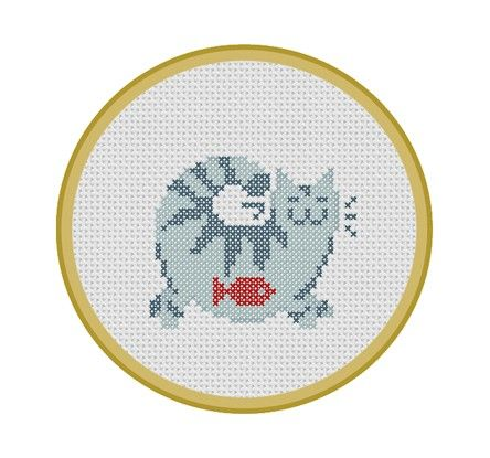 Contented Cat. Instant Download PDF Cross Stitch Pattern