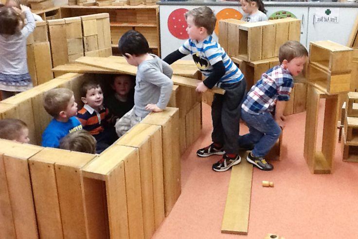 A Hollow block den at Magherafelt Nursery School. The long boards make an excellent roof!