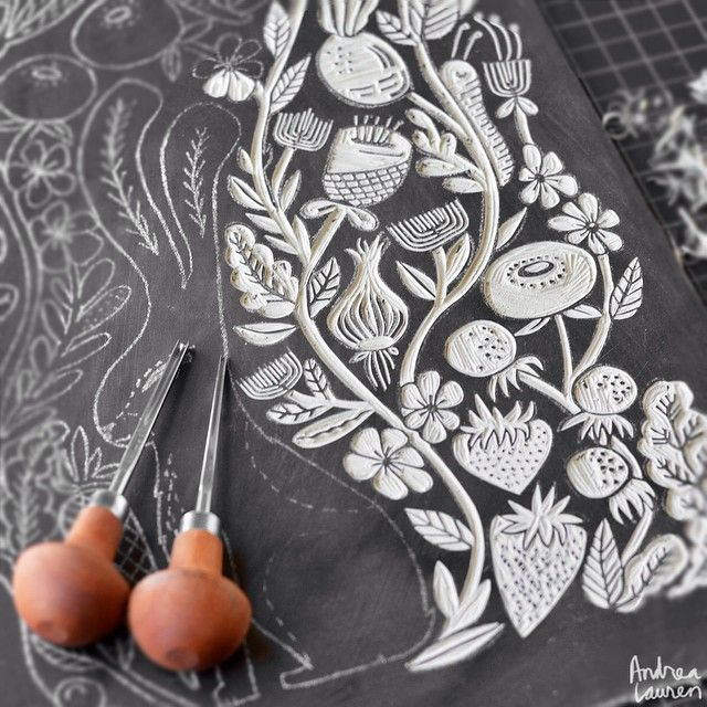 Andrea Lauren (@inkprintrepeat) | Work in progress linocut keyblock carving…