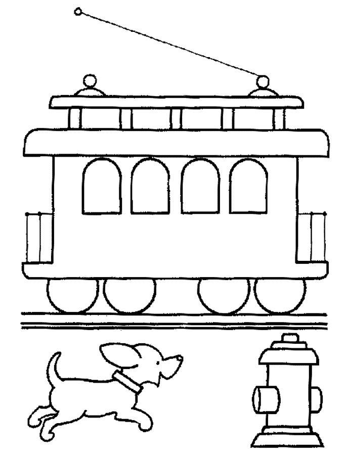 tram hond kleurplaat kleurplaten trein honden