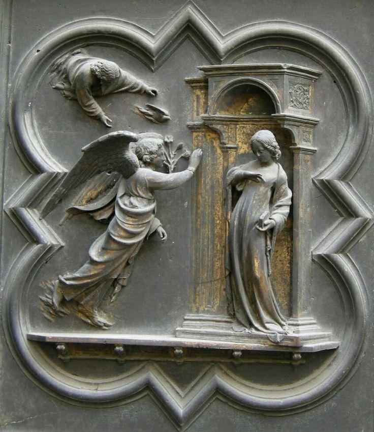 Annunciazione.  Porta Nord del Battistero di Firenze.  1407-1424.