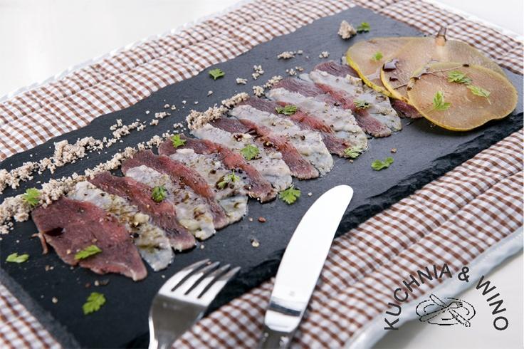 Carpaccio z gęsi z oliwą dyniową