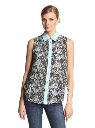 58% OFF Katherine Barclay Women's Printed Buttonup Shirt (Mint Snake)