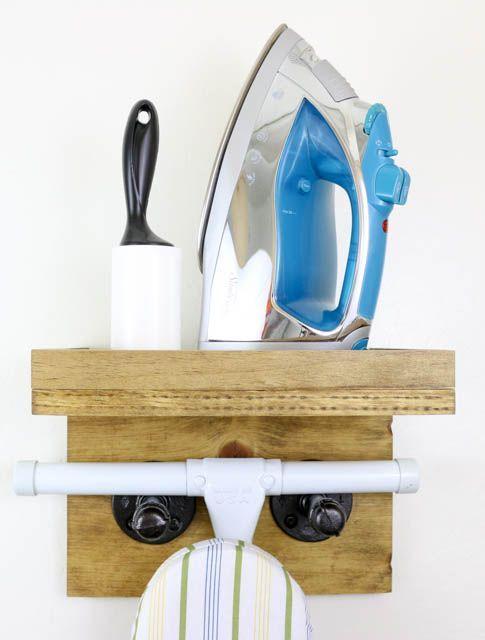 Scrap Wood Industrial Ironing Board Rack | Pretty Handy Girl | Bloglovin'