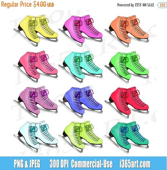50% off sale Ice Skating Clipart Clip art, Ice Skates, Winter clipart, Digital, Scrapbooking, Invitations, Graphics, PNG, Commercial-Use by I365Art