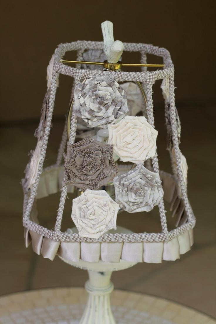 Handmade Gray Rose Shabby Chic Square Fabric Lampshade. $90.00, via Etsy.