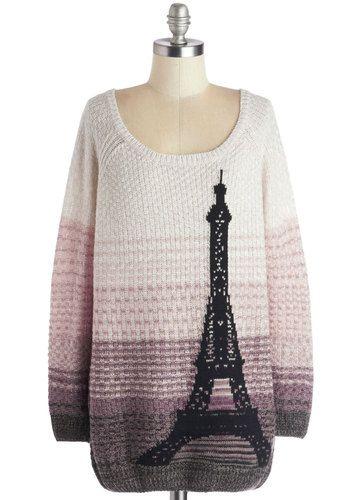 Paris Sunrise Sweater - Multi, Tan / Cream, Casual, Long Sleeve, Better, Knit, Long, Purple, Pink, Black, Grey, Novelty Print, Scoop