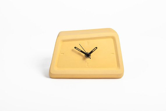 Yellow Ceramic Clock Office Table Decor Husband Gift by Yahalomis