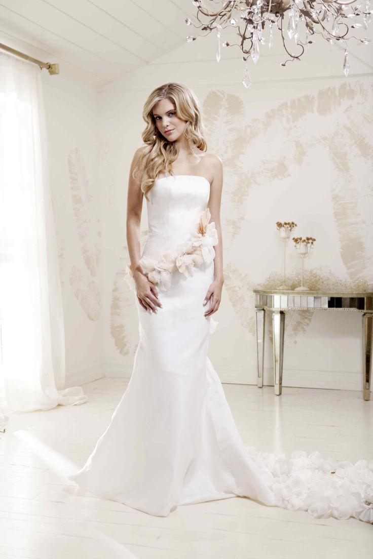 """V. SOUZ """"Elizabeth"""" dress.  Silk organza dress with peach ombre organza flowers."""