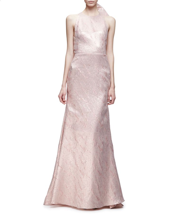 Sleeveless Bow-Back Mermaid Gown, Blush - Lela Rose