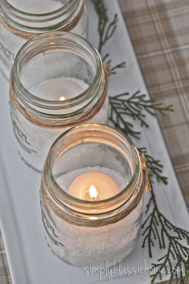 Frascos con velas para decorar