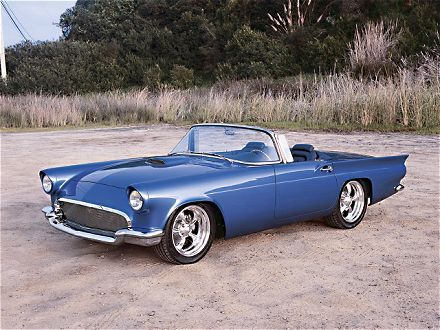 View this 1957 Ford Thunderbird Blue Body Top Down Passenger Side Rear View  Photo Custom Rodder feature on a 1957 Ford Thunderbird - Custom Rodder  Magazine