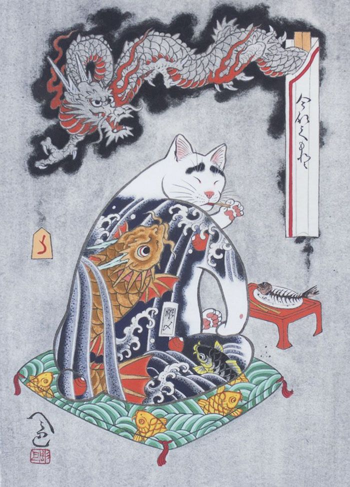 japanese-tattoo-paintings-monmon-cats-kazuaki-horitomo-41