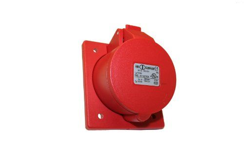 Interpower 84252333 IEC 60309 High Power Recepticle, Four Pole, Five Wire, 30A Rating, 200/415VAC Voltage, Red 6 Hour Designation cULus, OVE. Locking Flip Lid. 5 Wire. cULus, OVE Approvals.  #Interpower #BISS