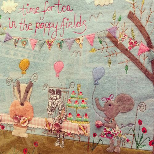 Laura Rose - Flowerona, Time For Tea In The Poppy Fields - Textiles