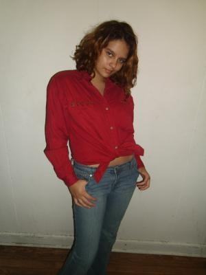 Red Blouse with Leather Trim on Collar and Pockets - Size Medium by Jeans Wear - SHIPS FREE!