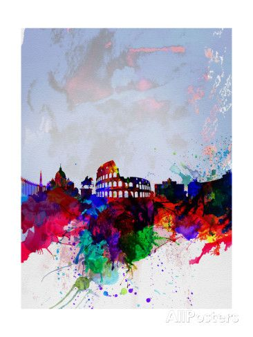 Rome Watercolor Skyline Posters by NaxArt at AllPosters.com
