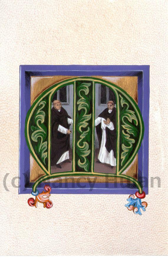 Medieval Illuminated Letter M Alphabet Letter M by ArteOfTheBooke