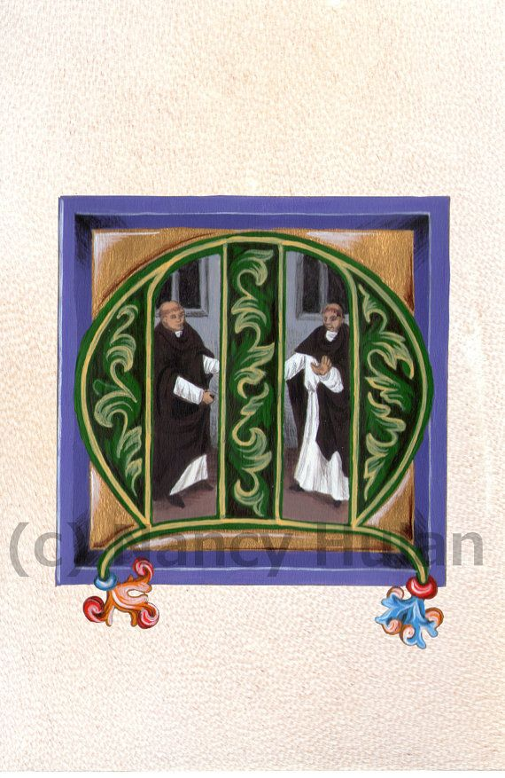 Medieval Illuminated Letter M    This is an archival 4 x 6 print of my original artwork, painted in acrylics on goatskin parchment. It shows a