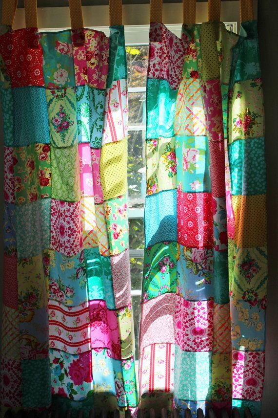 Patchwork Curtains Set Of 2 Panels Boho By ScarlettsCozyCottage