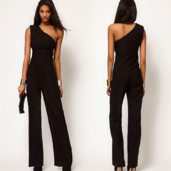 Stylish Lady Sexy Women's One Shoulder Sleeveless High Waist Solid Full Length Chiffon Jumpsuit Romper Overalls Black