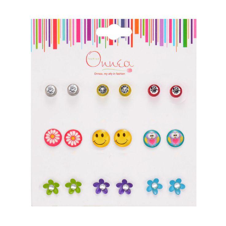 9 팩 귀걸이 세트 어린이 귀걸이 소녀 보석 라인 석 어린이 스터드 귀걸이 혼합 색상 귀여운 여자 아이 스터드 귀걸이