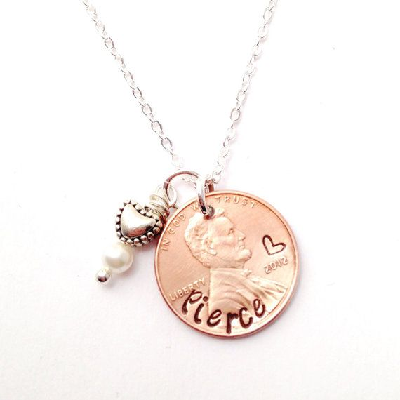 Hand Stamped Penny Necklace -Personalized Penny Necklace New Baby Necklace  -Year Child Was Born Necklace, New Baby Gift, Baby Shower