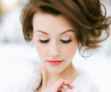 a soft but defined wedding look will help you fit in and stand out at the same time. love the pop coral lip!  #weddings