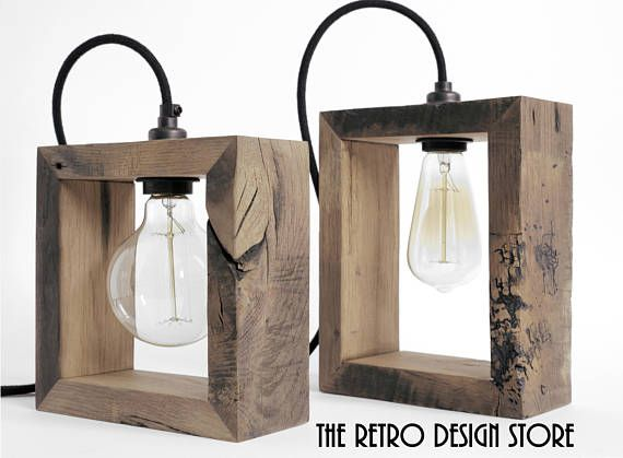 This is a range of handmade lamps from reclaimed oak. All of them are custom made. All fittings are BS certified. Beautiful braided cable in charcoal black or natural hessian. Size : H24cm x W20cm x 8cm deep. Antique Edison copper filament bulb E27 ST64. Please do not hesitate if you have any questions. Thank you. Mike & Monika
