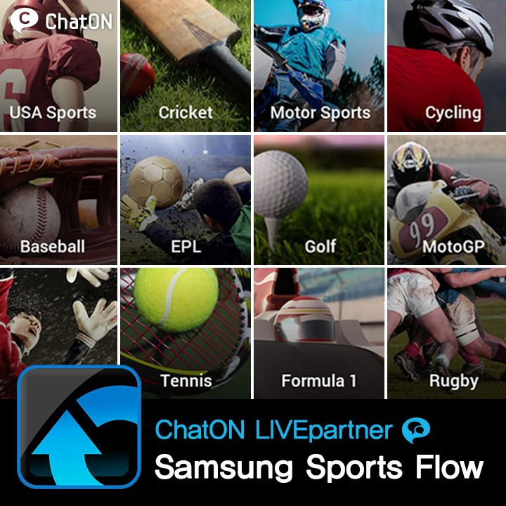 [ChatON LIVEpartner] Samsung Sports Flow (SEA only) / Good news for South East Asian ChatON users! Samsung Sports Flow is a one-stop gateway to the best sports news and videos aggregating content from top sources like BBC, Bleacher Report, Ball Ball and KICKTV. If you love the EPL, NBA, or F1, this is the LIVEpartner for you. You can also share your favorite stories with friends and engage in discussions with other fans from around the region.