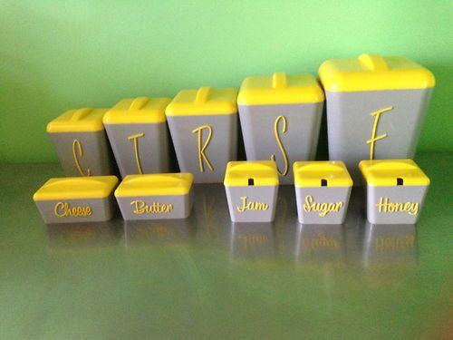 50s Gay Ware Kitchen Canisters, Honey, Sugar Jam, Butter U0026 Cheese Set
