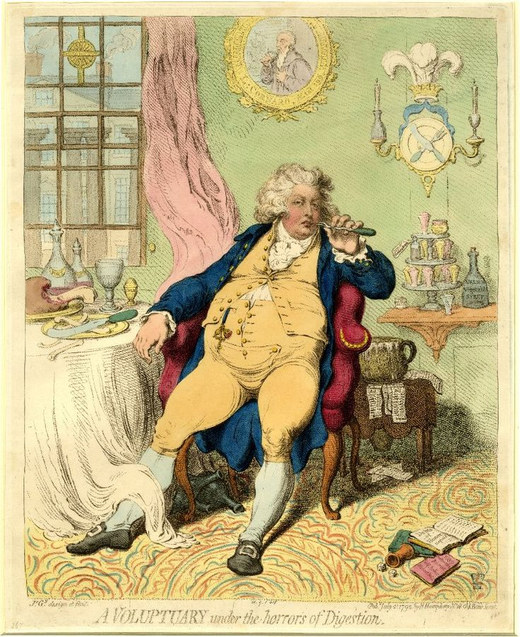 """""""A Voluptuary under the horrors of Digestion"""" by James Gillray, 1792. An unflattering portrait of the Prince of Wales."""