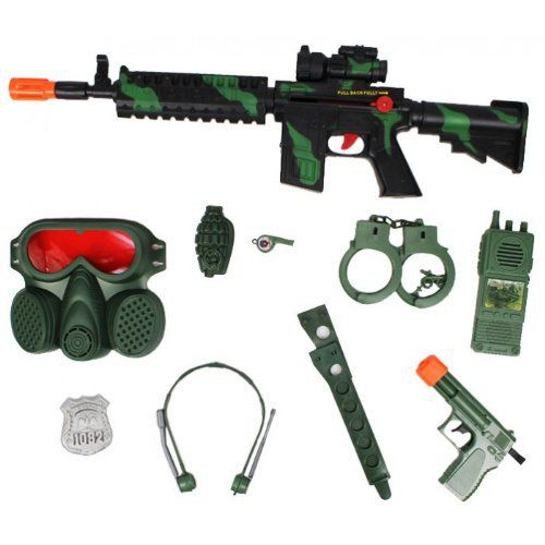 M16 Green Combat Camo Friction Toy Gun Playset · Swat CostumeNerf Toys Machine ...